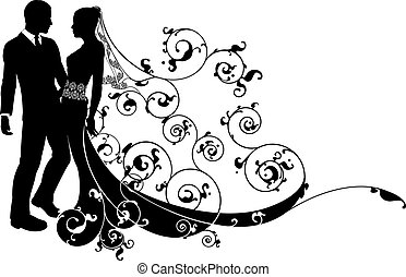 An illustration of a bride and groom wedding couple in silhouette with beautiful bridal dress and abstract floral pattern. Could be having their first dance.