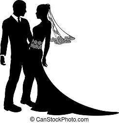An illustration of a bride and groom wedding couple in silhouette with beautiful bridal dress with veil and lace abstract floral pattern.