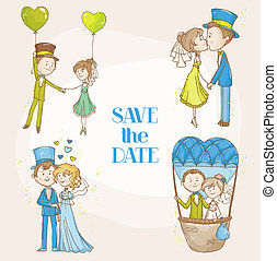 Bride and Groom - Wedding Doodle Set - for Scrapbook, Invitation, Wedding Decoration - in vector