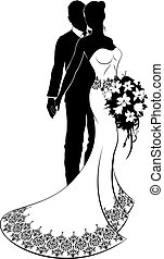A bride and groom couple silhouette wedding illustration, the bride in a white bridal dress gown with abstract floral pattern holding a floral bouquet of flowers