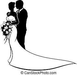 Wedding design of bride and groom couple in silhouette, in a white bridal dress gown holding a floral bouquet of flowers