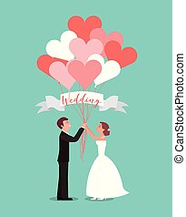 bride and groom with balloons heart wedding day