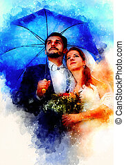 Bride and groom with blue umbrella, softly blurred watercolor background.