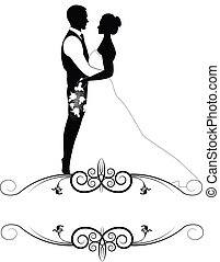 bride and groom with ornate frame