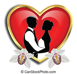BRIDE AND GROOM WITH RED HEART