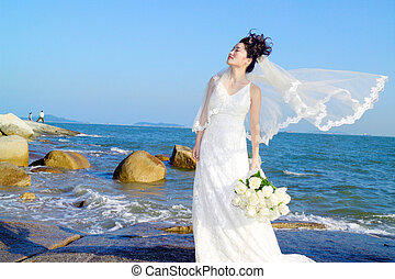 Bride at beach - Chinese young lady