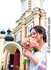 bride at the church