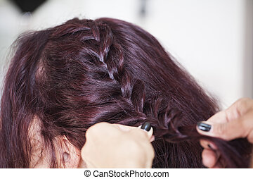 Bride at the hair stylist