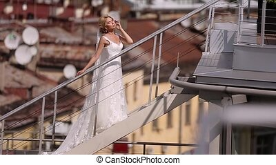 Bride at the roof in the city