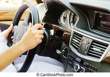 Bride at the wheel