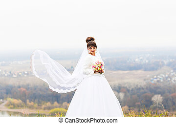 Bride at the winter day