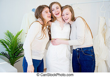 Bride at wedding shop