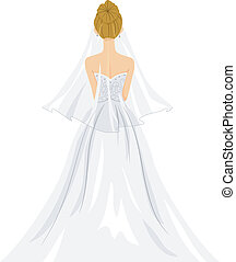 Bride Back View - Back View Illustration of a Lovely Bride...