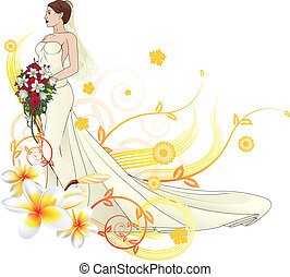 Bride beautiful wedding dress  floral background