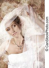 Bride beauty portrait, Fashion Woman in Wedding dress