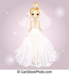 Bride Blonde Girl In Diadem