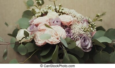 Beautiful bridal bouquet on the table