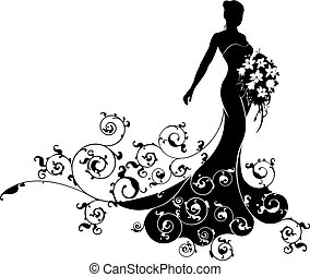 A bride in silhouette in a bridal dress gown holding a floral bouquet of flowers and an abstract floral pattern