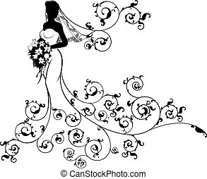 A bride in silhouette in a bridal dress gown flowing into an abstract floral pattern holding a floral wedding bouquet of flowers