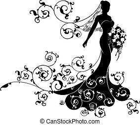 Bride Bouquet Wedding Silhouette Design