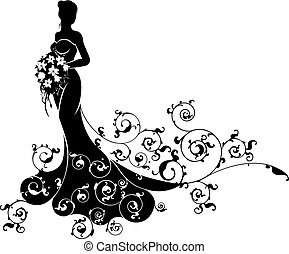 Bride Bouquet Wedding Silhouette Pattern