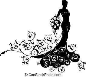 Bride Bouquet Wedding Silhouette Pattern