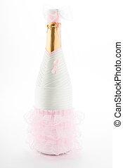 Bride. Champagne wedding bottle isolated on white