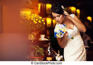 bride, chest, bouquet