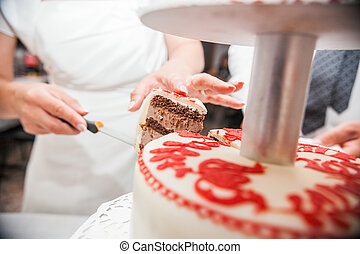 Bride cut the cake