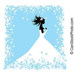 bride., desenho, seu, ilustração, casório