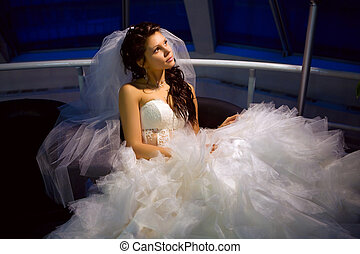 Bride - Dreaming bride. Portrait in the shadows