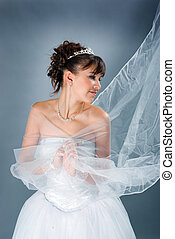 bride dressed in elegance white wedding dress