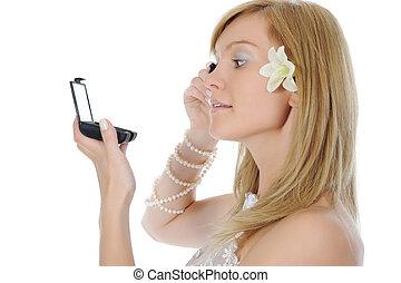 Bride dye eyelashes. - young bride dye eyelashes. Isolated...