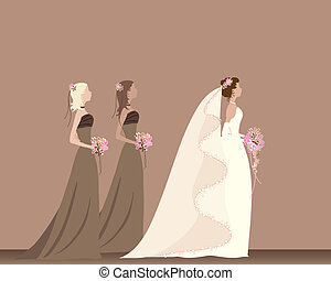 bride - an illustration of a bride with flowers walking with...