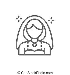 Bride, girl with veil line icon.