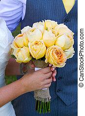 Bride Groom and Flowers