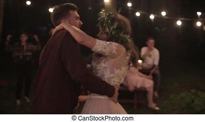 Bride groom dancing nature