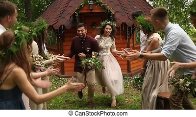 Bride groom fool around with young guests