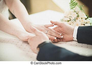 bride groom hands wedding wov white dress suite