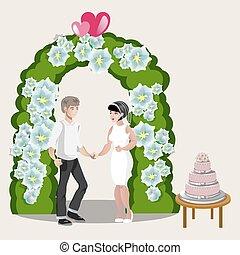 Bride Groom Happy Cartoon Design