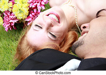 Bride Groom Lying on the Grass