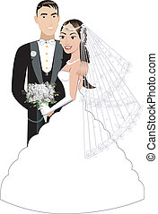Bride Groom - Vector Illustration. A beautiful bride and ...