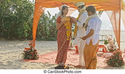 Bride Groom Vow Fidelity at Traditional Indian Wedding -...