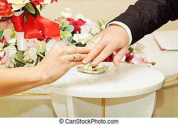bride groom wears the ring wedding