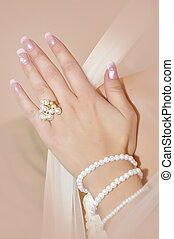 Bride hand with ring