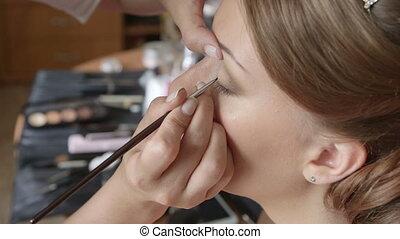 Bride Having Eye Makeup Applied