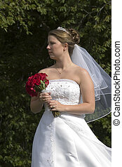 Bride holding bouque - Bride with flowers