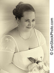 Bride Holding Bouquet in Black and White