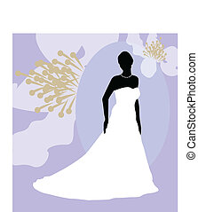 Bride - Silhouette of a bride against floral background.