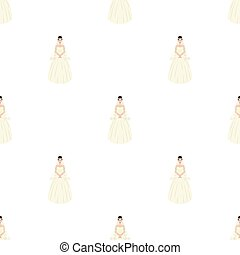 Bride in a beautiful wedding dress.Wedding single icon in cartoon style vector symbol stock illustration.